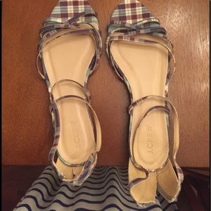 J Crew plaid print sandals
